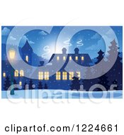 Clipart Of A Snowy Winter Village With Illuminated Windows Royalty Free Vector Illustration