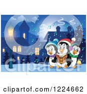 Clipart Of Penguins Singing Christmas Carols In A Village At Night Royalty Free Vector Illustration by visekart