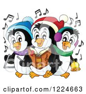 Clipart Of Penguins Singing Christmas Carols Royalty Free Vector Illustration