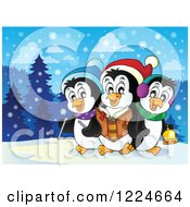 Clipart Of Penguins Singing Christmas Carols In The Snow Royalty Free Vector Illustration by visekart