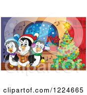 Clipart Of Penguins Singing Christmas Carols By A Tree Royalty Free Vector Illustration by visekart