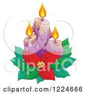 Clipart Of Purple Christmas Candles With Poinsettia Royalty Free Vector Illustration by visekart