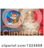 Clipart Of A Magical Christmas Tree By A Window With A Squirrel And Poinsettia Royalty Free Vector Illustration by visekart