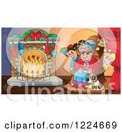 Clipart Of A Granny With Pets And Children Around A Fireplace On Christmas Eve Royalty Free Vector Illustration by visekart
