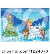 Clipart Of A Happy Children Building An Igloo In The Snow By A Christmas Tree Royalty Free Vector Illustration by visekart