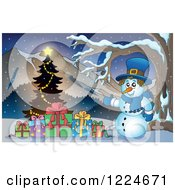 Clipart Of A Snowman With Presents And A Christmas Tree In The Mountains Royalty Free Vector Illustration