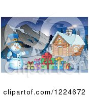 Clipart Of A Snowman With Christmas Presents By A Log Cabin Royalty Free Vector Illustration by visekart
