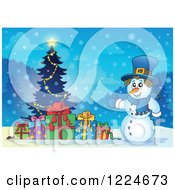 Clipart Of A Snowman With Presents And A Christmas Tree In The Snow Royalty Free Vector Illustration