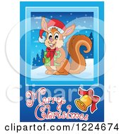 Clipart Of A Squirrel Holding A Gift Over A Merry Christmas Greeting Royalty Free Vector Illustration by visekart