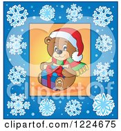 Clipart Of A Christmas Teddy Bear In A Blue Snowflake Frame Royalty Free Vector Illustration by visekart