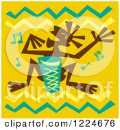 Tribal Bongo Player Over Yellow With Zig Zags