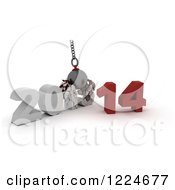 Clipart Of A 3d 2013 To New Year 2014 Wrecking Ball Royalty Free Illustration