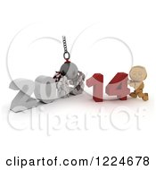 Clipart Of A 3d Box Boy With A 2013 To New Year 2014 Wrecking Ball Royalty Free Illustration by KJ Pargeter
