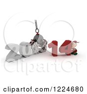 Clipart Of A 3d Christmas Elf With A 2013 To New Year 2014 Wrecking Ball Royalty Free Illustration