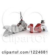 Clipart Of A 3d Snowman With A 2013 To New Year 2014 Wrecking Ball Royalty Free Illustration