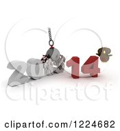 Clipart Of A 3d Owl With A 2013 To New Year 2014 Wrecking Ball Royalty Free Illustration by KJ Pargeter