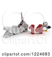 Clipart Of A 3d Penguin With A 2013 To New Year 2014 Wrecking Ball Royalty Free Illustration by KJ Pargeter