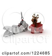 Clipart Of A 3d Christmas Reindeer With A 2013 To New Year 2014 Wrecking Ball Royalty Free Illustration