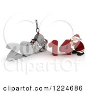 Clipart Of A 3d Santa With A 2013 To New Year 2014 Wrecking Ball Royalty Free Illustration