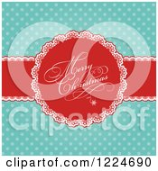 Clipart Of A Retro Merry Christmas Greeting Ribbon Over Turquoise Polka Dots Royalty Free Vector Illustration