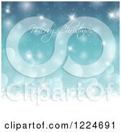 Clipart Of A Merry Christmas Greeting Over Blue Sparkles Snowflakes And Bokeh Royalty Free Vector Illustration
