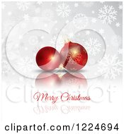 Clipart Of A Merry Christmas Greeting Under 3d Red Babules With Snowflakes Royalty Free Vector Illustration