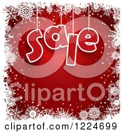 Clipart Of A Red Christmas Background With Sale Suspended And White Snowflake Borders Royalty Free Vector Illustration