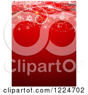 Clipart Of A Red Christmas Background With Swirls And Snowflakes Royalty Free Vector Illustration
