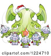 Clipart Of A Winged Tentacled Christmas Monster Holding Little Monsters Royalty Free Vector Illustration by Cory Thoman