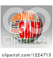 Clipart Of A 3d Christmas Word Collage Sphere On Gray Royalty Free Illustration