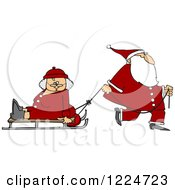 Santa Pulling Mrs Clause On A Sled