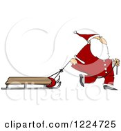 Clipart Of Santa Pulling A Sled Royalty Free Vector Illustration