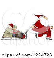 Clipart Of Santa Pulling Kids On A Sled Royalty Free Vector Illustration