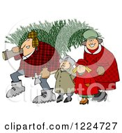 Clipart Of A Happy Family With A Fresh Cut Christmas Tree Royalty Free Illustration