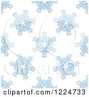 Clipart Of A Seamless Pattern Background Of Blue Snowflakes 10 Royalty Free Vector Illustration