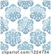 Clipart Of A Seamless Pattern Background Of Blue Snowflakes 11 Royalty Free Vector Illustration