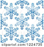 Clipart Of A Seamless Pattern Background Of Blue Snowflakes 5 Royalty Free Vector Illustration