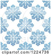 Clipart Of A Seamless Pattern Background Of Blue Snowflakes 8 Royalty Free Vector Illustration