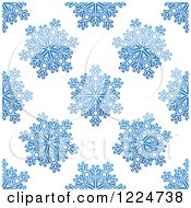 Clipart Of A Seamless Pattern Background Of Blue Snowflakes 7 Royalty Free Vector Illustration by Vector Tradition SM