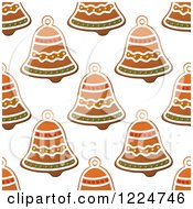 Clipart Of A Seamless Background Pattern Of Bell Shaped Christmas Gingerbread Cookies 2 Royalty Free Vector Illustration by Vector Tradition SM
