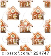 Clipart Of A Seamless Pattern Background Of Christmas Gingerbread House Cookies 2 Royalty Free Vector Illustration by Vector Tradition SM