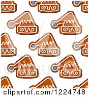 Clipart Of A Seamless Background Pattern Of Santa Hat Shaped Christmas Gingerbread Cookies Royalty Free Vector Illustration by Vector Tradition SM