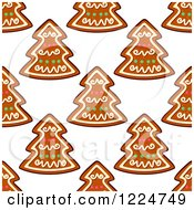 Clipart Of A Seamless Background Pattern Of Tree Shaped Christmas Gingerbread Cookies Royalty Free Vector Illustration by Vector Tradition SM