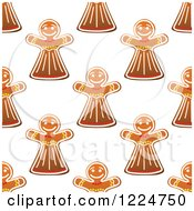 Clipart Of A Seamless Pattern Background Of Christmas Gingerbread Woman Cookies Royalty Free Vector Illustration by Vector Tradition SM