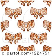 Clipart Of A Seamless Background Pattern Of Bow Shaped Christmas Gingerbread Cookies 2 Royalty Free Vector Illustration by Vector Tradition SM