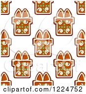 Clipart Of A Seamless Background Pattern Of Gift Shaped Christmas Gingerbread Cookies 2 Royalty Free Vector Illustration by Vector Tradition SM