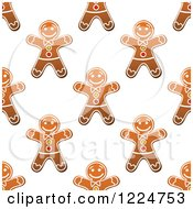 Clipart Of A Seamless Pattern Background Of Christmas Gingerbread Man Cookies 2 Royalty Free Vector Illustration by Vector Tradition SM