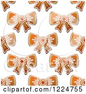 Clipart Of A Seamless Background Pattern Of Bow Shaped Christmas Gingerbread Cookies Royalty Free Vector Illustration