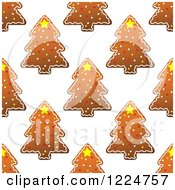 Clipart Of A Seamless Background Pattern Of Tree Shaped Christmas Gingerbread Cookies 2 Royalty Free Vector Illustration by Vector Tradition SM