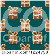 Clipart Of A Seamless Background Pattern Of Gift Shaped Christmas Gingerbread Cookies Over Teal Royalty Free Vector Illustration by Vector Tradition SM